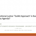 The Transitional Justice 'Toolkit Approach' in Burundi: A Fruitless Agenda?