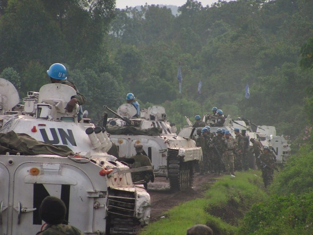 UN peacekeeping vehicles near Goma